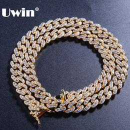 9mm chain Promo Codes - Uwin 9mm Micro Pave Iced CZ Cuban Link Necklaces Chains Gold Color Luxury Bling Bling Jewelry Fashion Hiphop For Men
