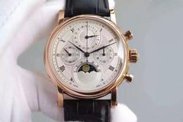 relojes multifuncionales para hombres Rebajas PF reloj de los hombres de lujo multifunción reloj de fase de sincronización 7750 cadena manual movimiento mecánico impermeable cristal azul cristal