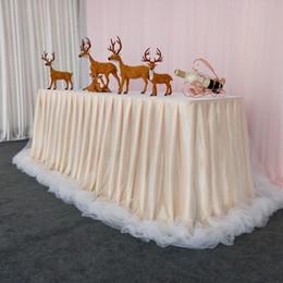 botín de mesa de bodas de oro Rebajas Falda de mesa de gasa esponjosa de la boda 7 diseños de la boda manteles de tul de la boda de cumpleaños decoraciones de la fiesta 1 unidades ePacket