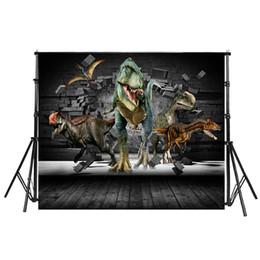 Pared de ladrillo prop online-Fondo de dinosaurio telón de fondo de pared de ladrillo piso de madera Fotografía de vinilo 3D Foto de fondo para decoración de fiesta estudio apoyos
