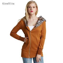 hoodie del leopardo del invierno de las mujeres Rebajas Nuevas mujeres otoño invierno sudaderas con capucha calientes sudadera con estampado de leopardo en forma de cremallera con capucha chaqueta de abrigo prendas de vestir exteriores larga