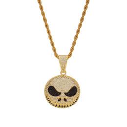 pattini Sconti Hip Hop Cartoon Jack Skellington Skull Collana personalizzata 24K Gold Plated Cubic Zirconia Punk Collana pendente medaglione degli uomini