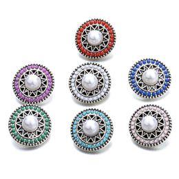 2019 ganchos de botão antigo NOOSA Snap Jóias Pérola Beads Snap Botões fit 18mm botão snap pulseira de Jóias