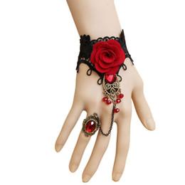 Deutschland Fashion Handmade 1 PCS Frauen Armbänder Retro-Schwarz-Spitze-Armband Vampire Slave Stoff Rose Blume Rote Weinlese cheap vampire flower Versorgung