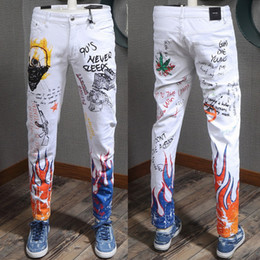 7545265b8c9 Plus Size 38 Men s White Stretch Color Painted Printed Graphic Graffiti Jeans  2019 New Slim Fit Cool Guy