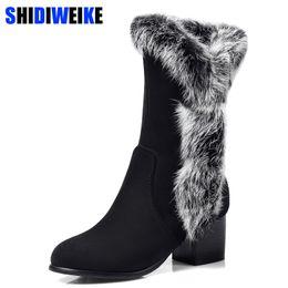 2019 Hiver Femmes Bottes De Neige Chaude Bottes Antieskid Mi-mollet Talon Carré Slip On Casual Femmes Flock Chaussures De Cheveux De Lapin n069 ? partir de fabricateur