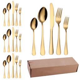 Cuchillos tenedores juegos de cucharas online-Oro de acero inoxidable cubiertos conjunto vajilla 20pcs / lot Cuchillo Tenedor cuchara de café de alta Quility lujo de vajilla de cocina occidental Accesorios