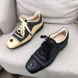 zapatos de la boda de raso de marfil vuelos Rebajas Zapatos de mujer de marca de moda de cuero real de cabeza cuadrada zapatos casuales zapatos de mujer de alta calidad con cordones planos zapatos de tacón primavera 2019