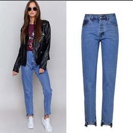 1f18da4e385d6 Ragged Leg Denim Jeans Women Straight Tassel Pants Fashion Casual High Waist  Losse Trousers Female Brand Vintage Plus Size women straight leg jeans for  sale