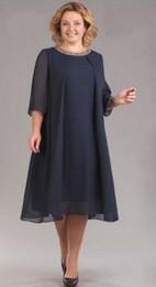 Azul marino oscuro más el tamaño de gasa madre de la novia vestidos de 2020 de la línea A del escote redondo rojo oscuro de la media manga del partido vestidos de boda desde fabricantes