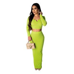 2019 длинное платье из двух частей Укороченный топ Slim Split Длинная юбка Женщины одеваются элегантные модные зеленые осень с полным рукавом V-образным вырезом Bodycon из двух частей Party Club Trends Style дешево длинное платье из двух частей
