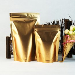 Aptal Altın Stand Up Alüminyum Folyo Zip Kilit Çantası, 10x15 cm 100 adet / grup Mat Altın Mylar Kaplama Açılıp kapanabilir Fermuar Doypack, Kahve Çekirdeği Kılıfı nereden
