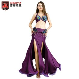 belly dance skirt belt Coupons - Women Performance Belly Dance Set 3pcs Bra+Belt+Skirt rainbow ballroom tango foxstep waltz salsa standard dance lady