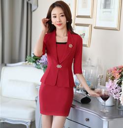 2019 tenues professionnelles femmes Nouveau Professionnel Uniforme formel Style Business Work Wear Costumes Blazer Et Robe Dames Bureau Mode Femmes Tenues Définies