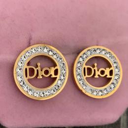 Aretes de diamante 14k online-Piedra llena de diamantes de lujo 14 k oro claro CZ redondo círculo Stud pendientes para mujeres hombres joyería