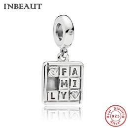 alphabets beads Coupons - 100% 925 Sterling Silver I Love My Family Letters Monogram Beads fit Pandora Bracelet Alphabet Rubik's Cube Charm Christmas Gift