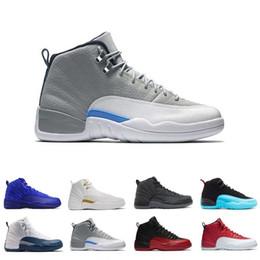 2019 vidrio de aire gs Zapatos de baloncesto 12 12s Copa de 2003 Burdeos aire gris oscuro zapatilla de baloncesto de lana ovo blanco Juego de la gripe UNC retro G Gimnasio Seankers rojo azul J12 rebajas vidrio de aire gs