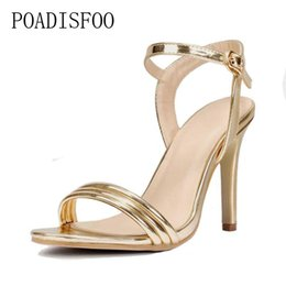d0158e757 POADISFOO 2018 spring summer new belt golden high heel sandals peep toe  hollowed sexy women shoes .SL-918-1 on sale