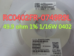 100 pçs / lote Novo Resistor RC0402FR-0749R9L 49.9 ohm 1% 1/16 W 0402 em estoque frete grátis de Fornecedores de resistências térmicas