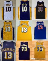 Los Angeles 10 Nash New Basketball Jerseys 13 Wilt Steve Chamberlain 73  Rodman Yellow Dennis Purple Stitched inexpensive steve nash ebfd0653d