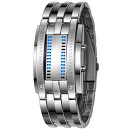 relógio led binário Desconto Vigilância Tecnológica Homens Futuro Binary Hot Venda de aço inoxidável preto Data Digital LED esporte pulseira relógios