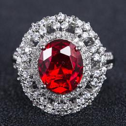 trajes de rubíes Rebajas Anillos de diamantes de cristal turquesa Plateado 925 anillo de rubí plata Topacio circón anillo de diamante Bisutería Joyería de lujo B2034