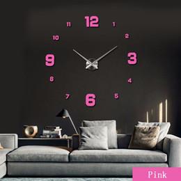 2019 panneau marcheur Vente en gros-vente de luxe bricolage grande horloge murale miroir 3D surface autocollant maison décoration décoration livraison gratuite