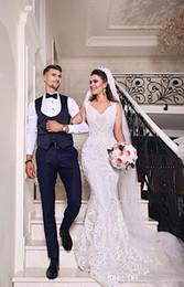 2019 estilos de encaje de boda blanco nigeriano Nuevo estilo sirena encaje blanco vestidos de novia baratos cariño africano 2018 sexy vestido de encaje nigeriano africano rebajas estilos de encaje de boda blanco nigeriano