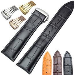 fermoir de déploiement de bracelet en cuir Promotion 20mm 22mm Bracelet En Cuir Véritable Avec Déploiement De Papillon Fermoir Montre Bracelet Sangle Bracelet De Remplacement Accessoires Pour Omega