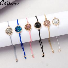 Cordes en cristal en Ligne-Cristal À La Main Cristal Druzy Bracelet Nouvelle Arrivée Coloré Pierre Naturelle Corde Bracelets Bracelets pour Femmes Bijoux De Plage D'été