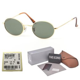 aluminum metal boxes Coupons - Brand designer ( Glass lens ) Metal Frame Oval Sunglasses men women Steampunk Fashion Retro Sun glasses with Retail box and label