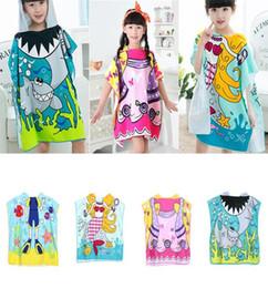 8 styles Mermaid bathrobe Kids Robes cartoon animal shark Nightgown  Children Towel Hooded bathrobes MMA1386 60pcs towel nightgown outlet 088760dd9
