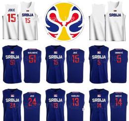 2019 lbj elite Coupe du Monde 2019 Équipe Serbie Jersey Basketball Nikola Jokic 15 Boban Marjanovic 51 Bogdan Bogdanovic 7 Nemanja Bjelica 8 Stefan Jovic Srbija