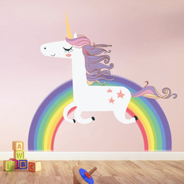 Девушки обои онлайн-Дети новая радуга единорог стикер стены домашнего декора наклейки на стену Дети животных граффити Наклейка Обои девушки Спальня Украшения питания