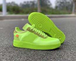 Zapatillas de baloncesto verde lima online-Nueva marca de zapatos de color verde lima Low 1 zapatos de skate de diseño 2.0 voltios Cono negro Baloncesto One Low Zapatillas deportivas con caja Size36-46
