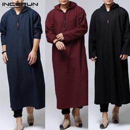 Sudadera etnica online-Hombres islámicos étnicos Sudaderas con capucha Sudaderas musulmanas Vestido de Hiphop Túnica Vestido de manga larga de algodón Vestido de traje árabe de Kurta de longitud completa