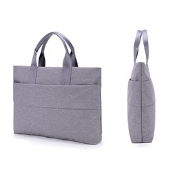 Сумка с файлами онлайн-Large Capacity Unisex Laptop Bag Handbag Lightweight One-Shoulder Briefcase Bussiness Casual File Notebook Bag For 13 inch Tote