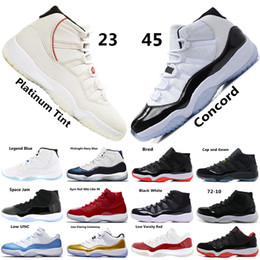 I pattini di sport dell'aria mens us11 online-Nike air jordan 11 Concord 45 XI 11s Uomo Scarpe da basket Platinum Tint Gym Red Win Come 96 Scarpe da uomo di design Cap and Gown 11s Sneakers sportive