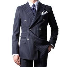 Mens maßgeschneiderte anzüge online-Thorndike Null 2017 Kreide Streifen Männer Anzug Nach Maß Marineblau Herren Gestreiften Anzug Maßgeschneiderte Zweireiher Männer Anzüge Mit Ticket