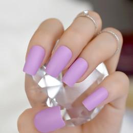 chiodi quadrati art Sconti Romancing Nail Art Lavedar Purple Press On Kit Nail Slim Piazza OEM Nails Classic Glamour Consigli Peel Off 24 ct