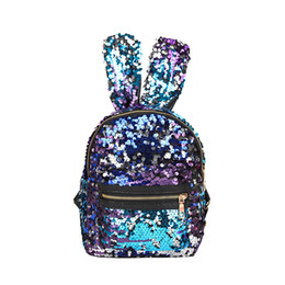 bunny backpacks Promo Codes - Baby Girls Rabbit ears Backpacks Cartoon Sequin Kids Mini bunny Shoulders bag Boutique fashion travel Purse Handbag 6 colors C5993
