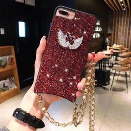 étuis iphone pearl bling Promotion Diamant Dur Cas de PC En Plastique Pour Iphone XS Max XR 8 7 6 Plus Shinnig Swan Cas de Téléphone Avec Metal Pearl Chain Bling Cas 200pcs