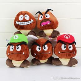 """Muñeca goomba online-Al por mayor-Super Mario Bros de peluche de juguete Soft Doll Goomba Con Mario Luigi Hat Doll 5.1 """"13cm"""