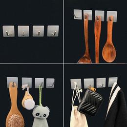 Stabwandaufhänger online-4 Stück selbstklebende Haken Heavy Duty-Stick an dem Wall Organizer Tuch-Aufhänger für Dusche Badezimmer Küche Edelstahl