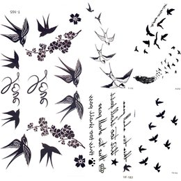 ec4bd8ef1 feather tattoos arm 2019 - Temporary Tattoo Stickers Cute Swallow Bird  Feather Flower Branch Letter Water