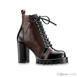 peep toe schwarze abendschuhe Rabatt Hochhackige Martin Stiefel Winter-Coarse Ferse Frauenschuhe Designer Desert Boots 100% echtem Leder Luxus High heel Stiefel Größe US11 35-42