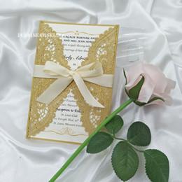 Invitation de mariage en dentelle doré avec rubans beiges 2019, invitation à la coupe au laser pour Quinceanera ? partir de fabricateur