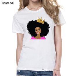 Coroa preta camiseta on-line-Harajuku Melanin Poppin Camisa vogue Coroa camiseta mulheres Preto Cabelo Encaracolado Africano camiseta menina femme verão tops feminino t-shirt
