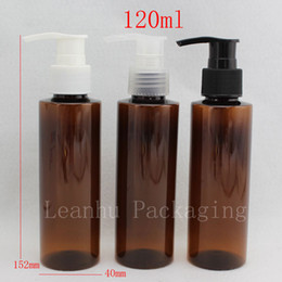 botellas de champú de plástico marrón Rebajas 120ml X 40 botellas PET vacías de color marrón, botella de bomba de loción de champú ámbar, empaque de plástico para cosméticos con dispensador, bomba de jabón líquido