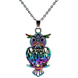 green pearl big chain Promo Codes - Rainbow Color 41mm Big Owl Magnetic Beads Cage Pendant Essential Oil Diffuser Aromatherapy Pearl Cage Locket Pendant Necklace-P